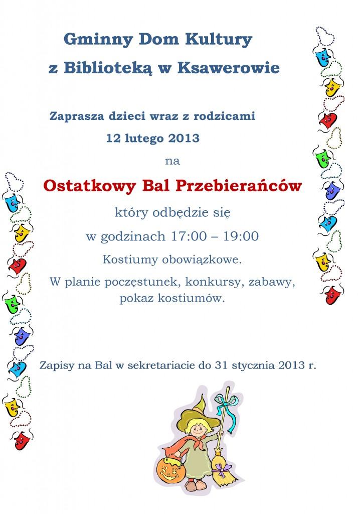Zaproszenie Na Ostatkowy Bal Przebierańców Gminny Dom Kultury Z