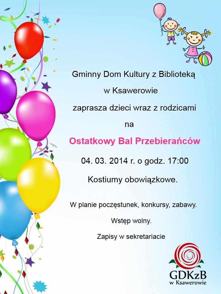 Zaproszenie Na Bal Przebierańców Gminny Dom Kultury Z Biblioteką W