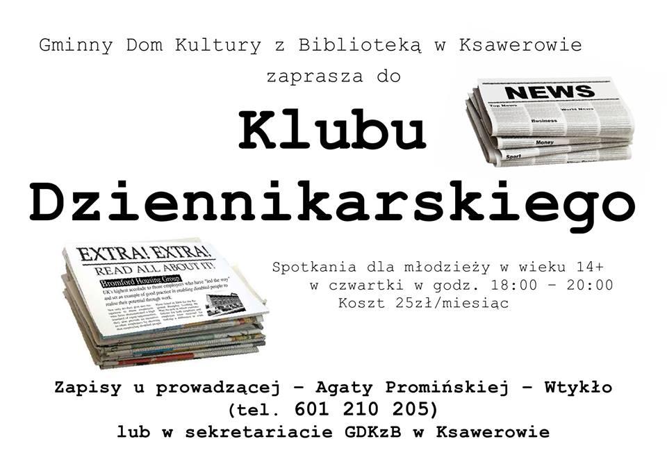 plakat informacyjny, klub dziennikarski