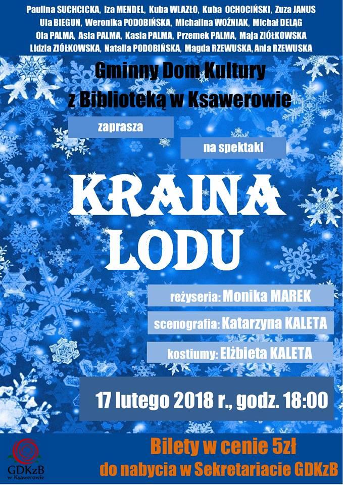 plakat informacyjny, kraina lodu spektakl