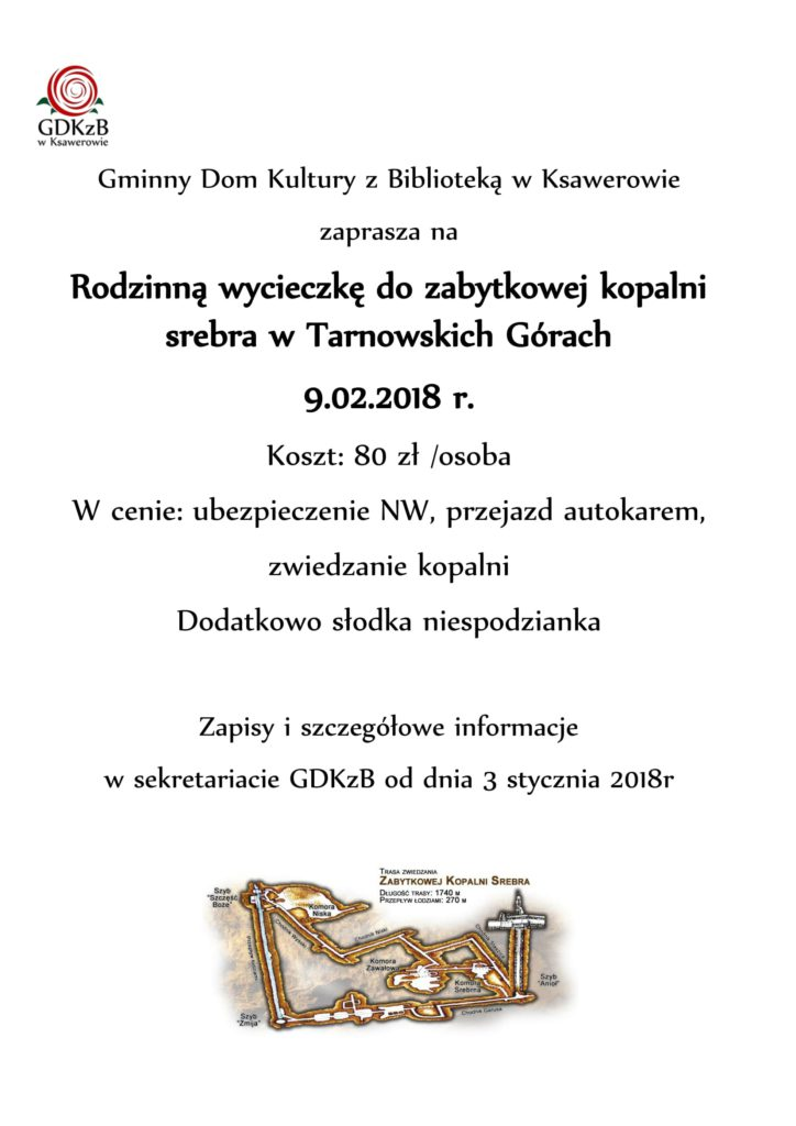 plakat informacyjny, wycieczka do kopalni