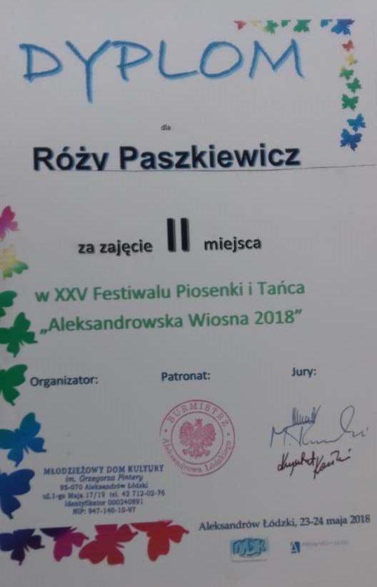 dyplom Róży
