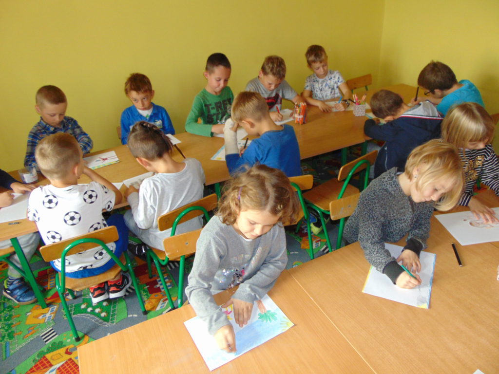 Uczniowie na zajęciach