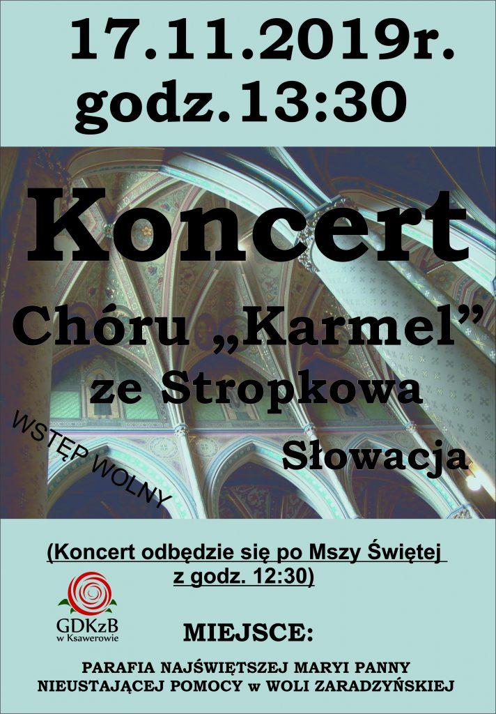 zaproszenie na koncert, chór Karmel