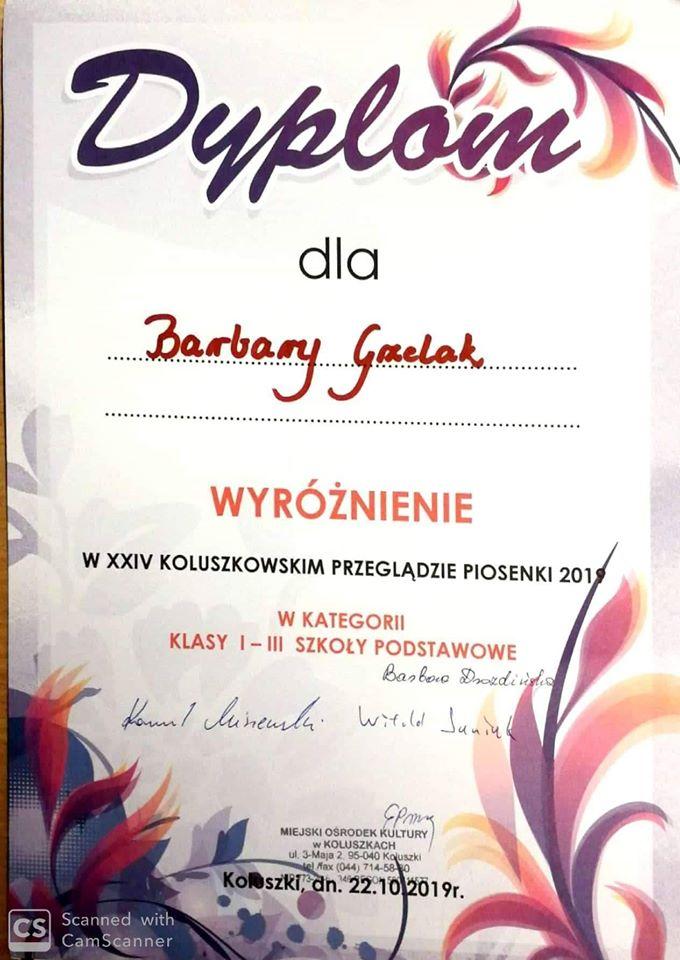 Dyplom Barbary Grzelak