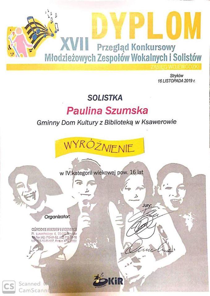 Dyplom Pauliny Szumko