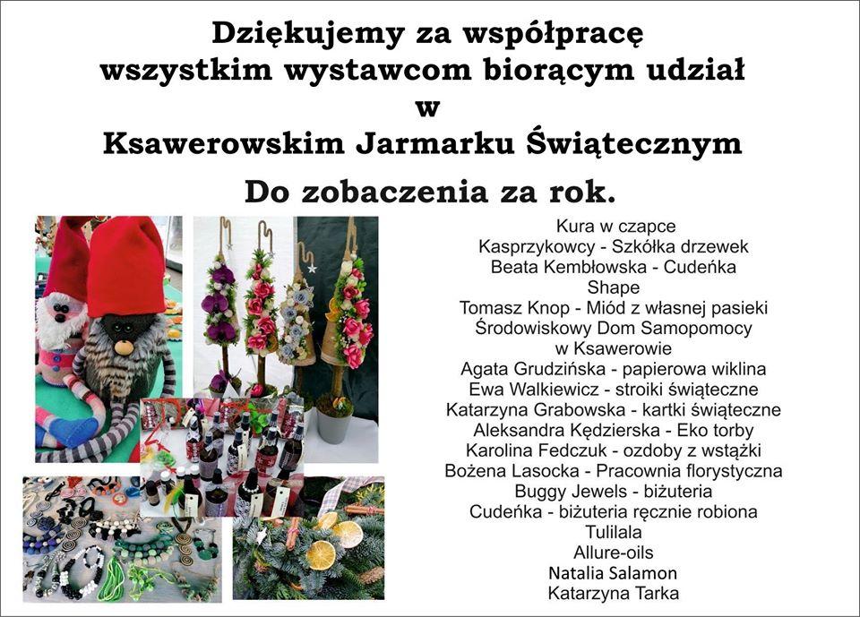 Podziękowania dla wystawców i sponsorów Jarmarku świątecznego