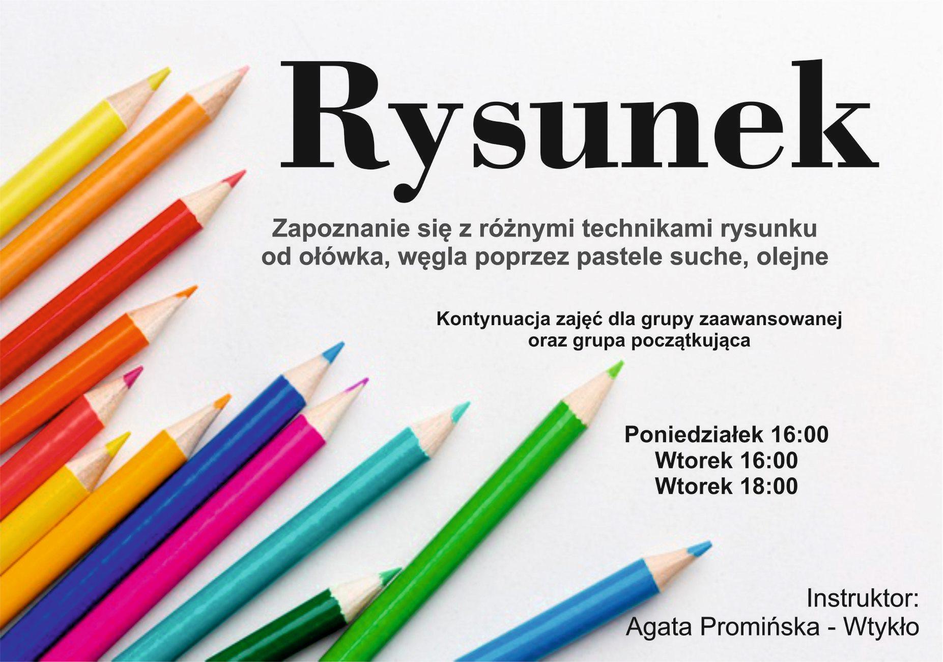 rysunek odręczny zajęcia prowadzone przez Agatę Promińską Wtykło, plakat informacyjny