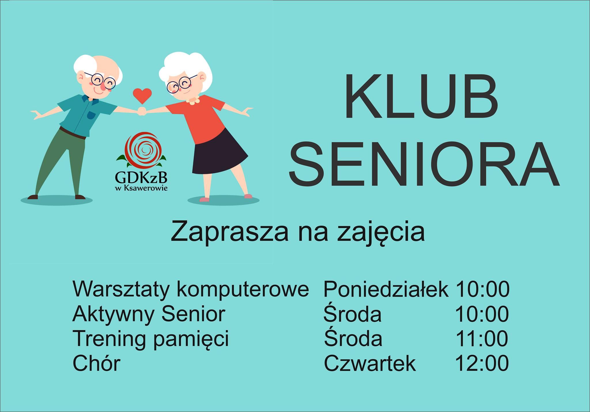 plakat zapraszający do klubu seniora