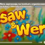 Czołówka programu. Widoczny napis Ksaw i Wera w tle czerwone i niebieskie kwiaty