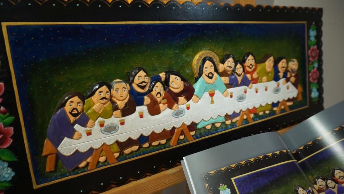 obraz, rzeźba w drewnie przedstawiający Ostatnią wieczerze Chrystusa