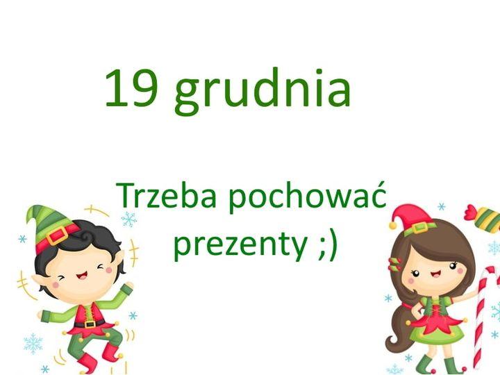 kartka z kalendarza, 19 grudnia, trzeba pochować prezenty