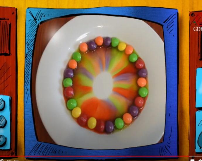 Rysunkowy telewziwor, roztopione cukierki na talerzyku