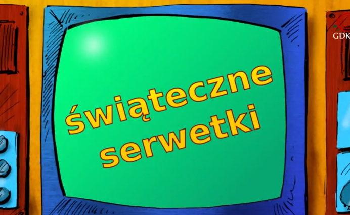 rysunkowy telewizor z napisem świąteczne serwetki