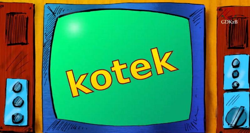rysunkowy telewizor na którym widnieje napis kotek