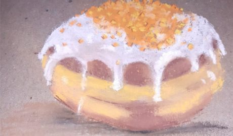 rysunek pączek z lukrem i kandyzowaną skórką pomarańcza