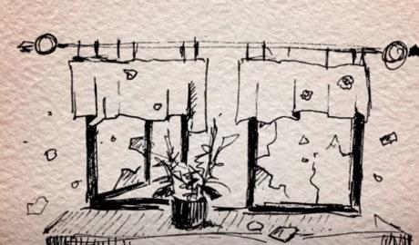 ilustracja przedstawiająca okno z kwiatkiem na parapecie
