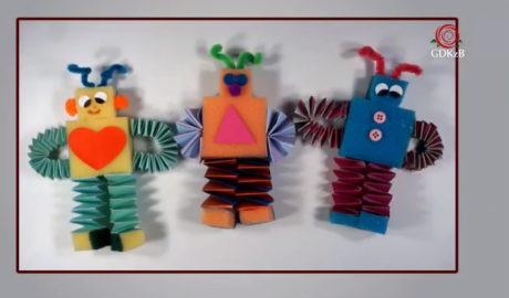 roboty z gąbki i papieru