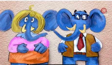 niebieskie słonie, rysunek
