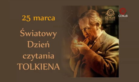na zdjęciu starszy mężczzna w garniturze z podpaloną fajką. napis: 25 marca światowy dzień czytania Tolkiena