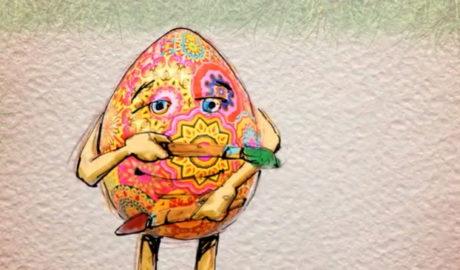 rysunkowe, kolorowe jajko