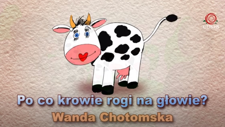 """rysnukowa krowa z różowym pyskiem i uśmechem z serduszka. Napis """"Po co krowe rogi na głowie?"""" Wanda Chotomska"""
