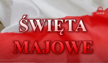 flaga polski, flaga biało - czerwona z napisem Święta Majowe