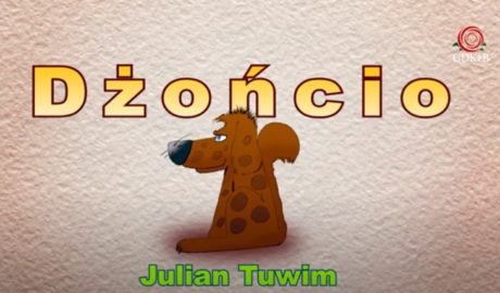 rysunek z brązowym pieskiem. napis dżoncio Julina Tuwim