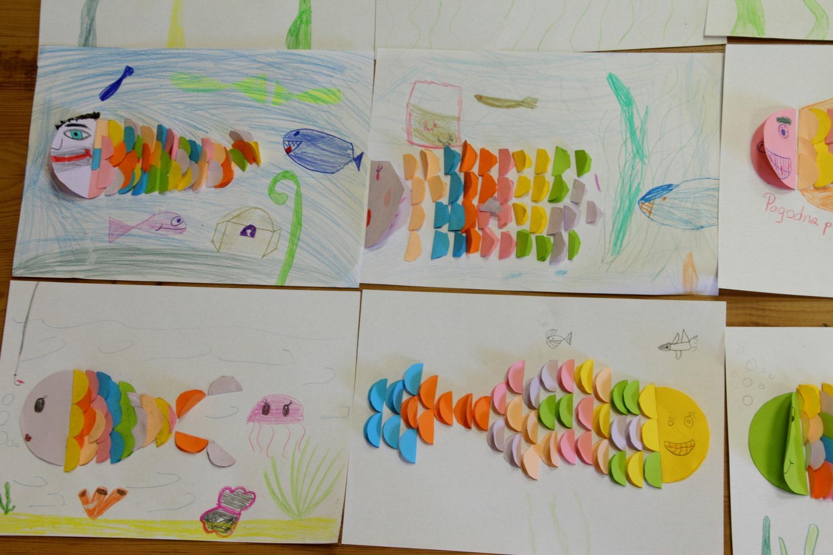Zdjęcie przedstawia rybki wykonane ze zgiętych kółek