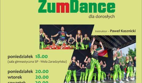 ZumaDance dla dorosłych, instruktor Paweł Kasznicki, poniedziałek 18:00 (sala gimnastyczna SP - Wola Zaradzyńska), poniedziałek 20:00, wtorek 20:00, czwartek 20:00