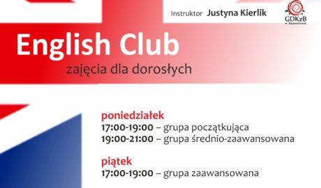 English club, instruktor Justyna Kierlik, zajęcia dla dorosłych, poniedziałek 17:00 - 19:00 grupa początkująca, 19:00 - 21:00 grupa średnio - zaawansowana, piątek 17:00 - 19:00 grupa zaawansowana