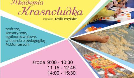 Akademia Krasnoludka, instruktor Emilia Przybyłek, Zajęcia: twórcze, sensoryczne, ogólnorozwojowe, w oparciu o pedagogikę Montessori